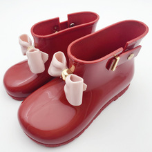 14.5-19.5CM Mini Melissa Rain Boots 2018 New Anti-Skid Jelly Rain Boots Boys Melissa Girls Bow Shoes Jelly Baby Water Shoes