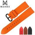 Maikes nova boa qualidade assista acessórios pulseiras 22mm 24mm fluororubber faixas de relógio de homens de borracha relógio esportivo cinta