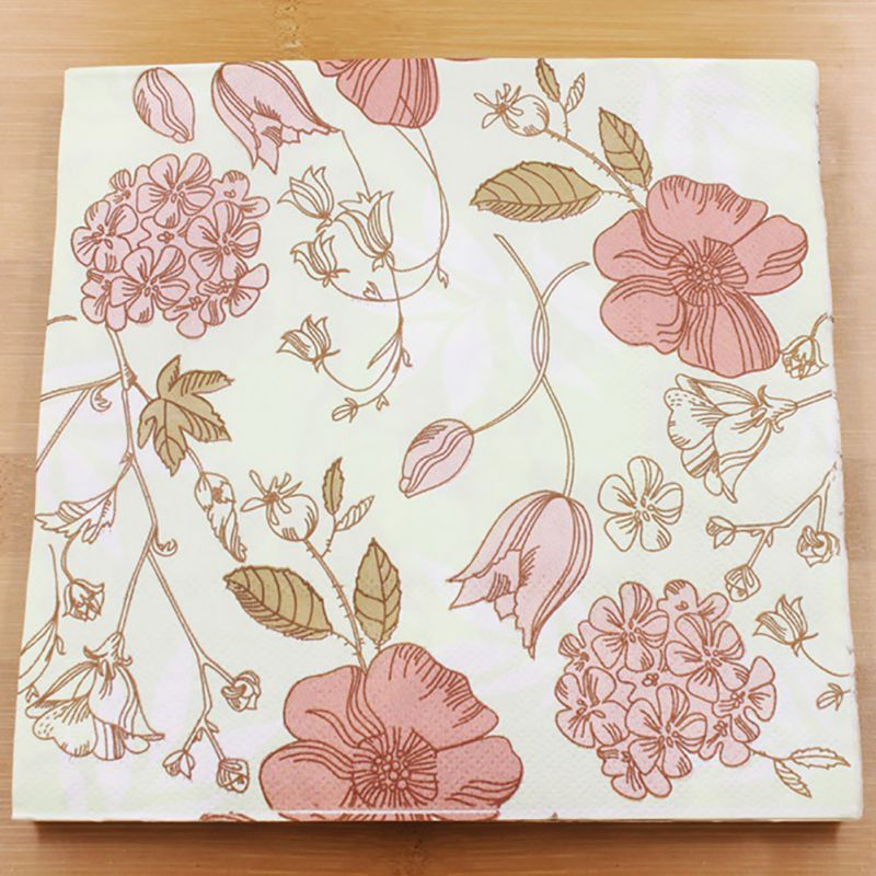 Vintage Flower Paper Napkins Rose Festive Party Tissue Floral Decoration for Weeding Dinner and Party 20pcs/pack/lot