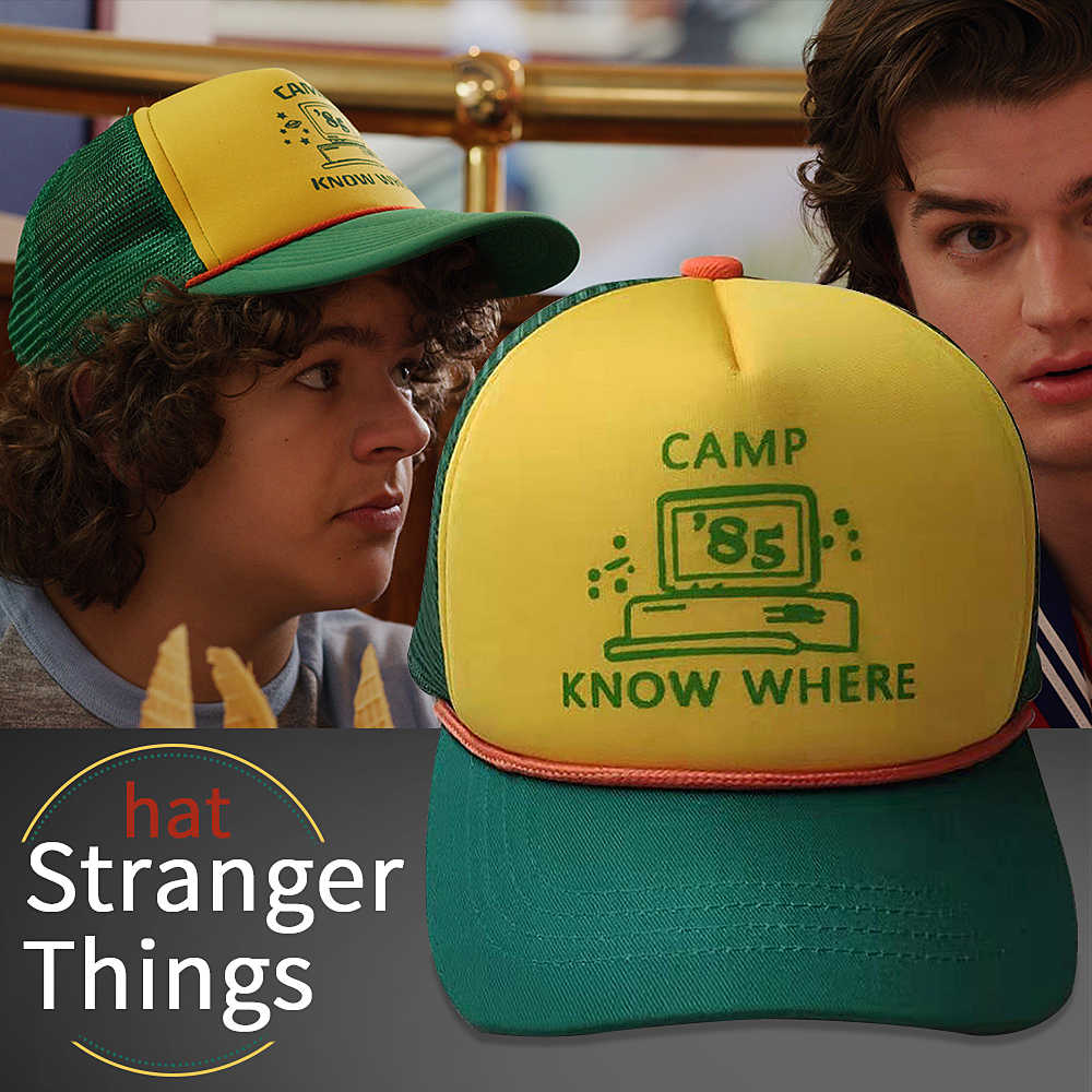"2019 Stranger Things 3 Dustin Hat New Retro Mesh Trucker Cap Baseball Hat Adult Kids ""Camp Know Where"" Green Yellow Cap Cosplay"