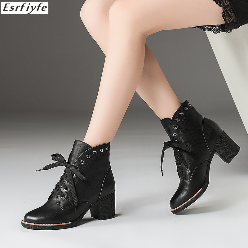 ESRFIYFE 2018 New Winter Women Martin Boots High Qualit Genuine Leather Solid Lace-up Ladies Shoes Fashion Square Heels BootsESRFIYFE 2018 New Winter Women Martin Boots High Qualit Genuine Leather Solid Lace-up Ladies Shoes Fashion Square Heels Boots