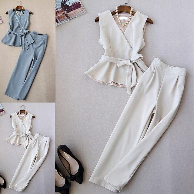Spring and Autumn New Fashion Set Women's Tide Korean temperament ladies coat wide leg pants suit