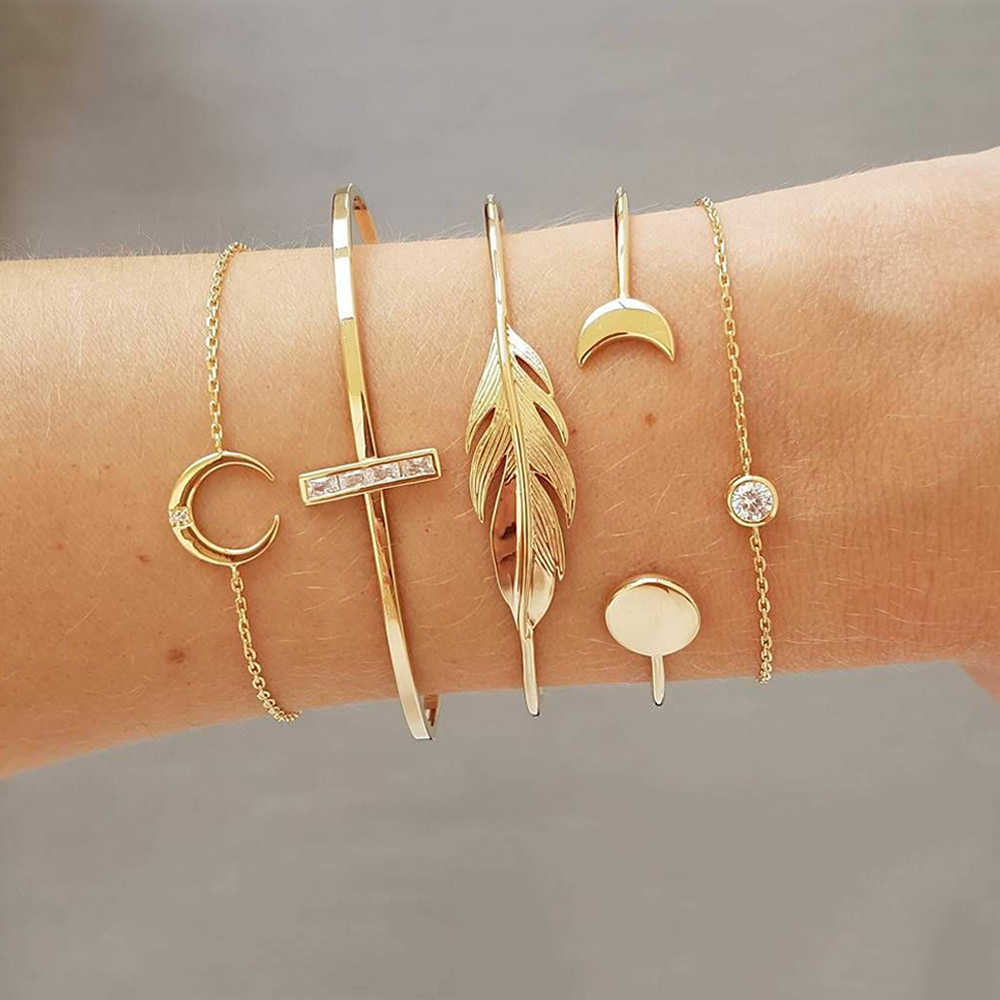 5 Pcs/set Fashion Punk Gold Chain Moon Leaf Crystal Geometry Open Bracelet Set Women Charm Beach Accessories Gift Jewelry