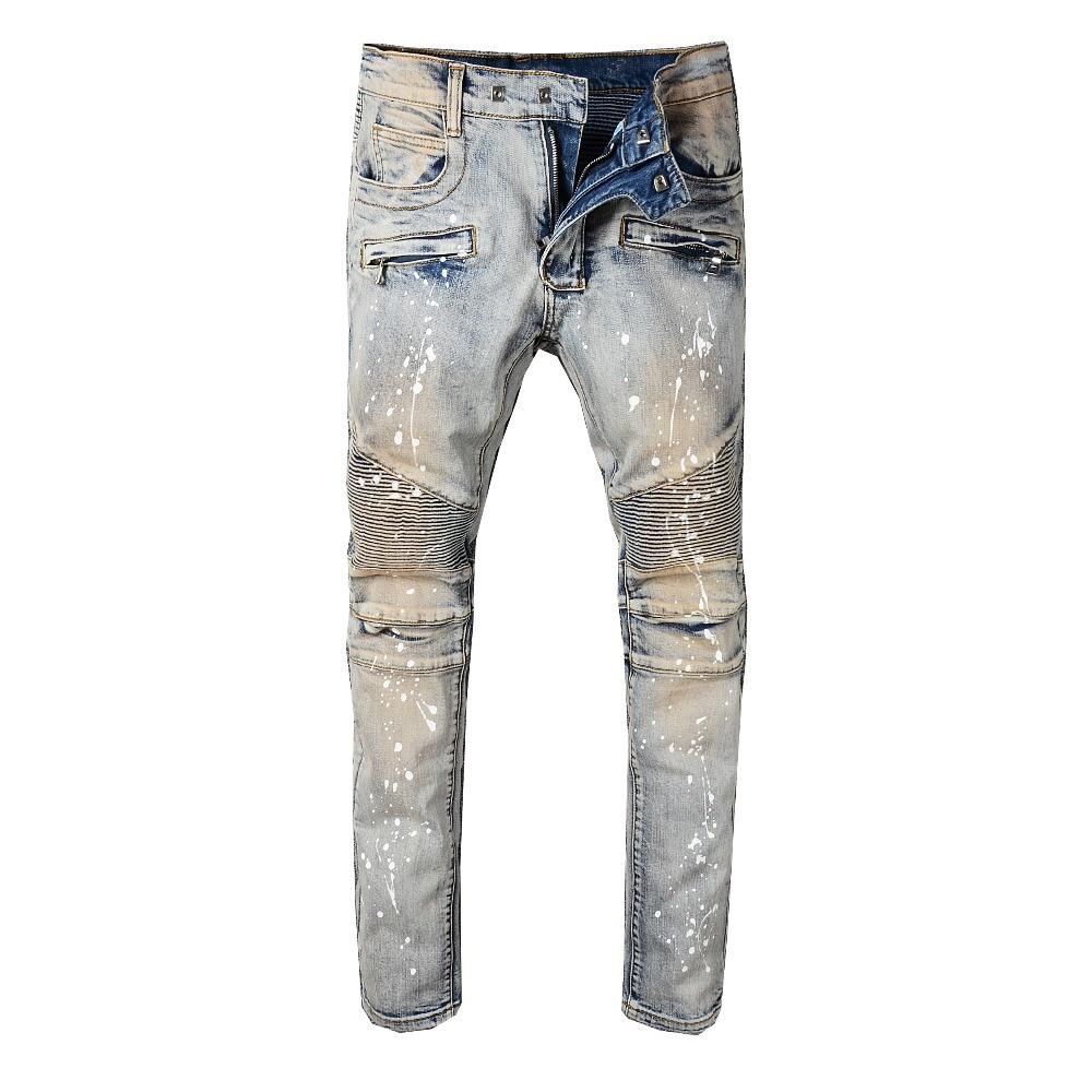 Fashion Streetwear Men Jeans Retro Yellow Washed Slim Fit Spliced Paint Designer Hip Hop Jeans Men Top Quality Biker Jeans Homme
