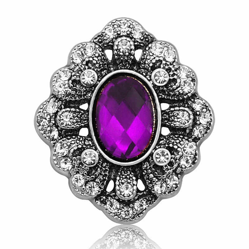 18MM Snap Buttons Vintage Purple Crystal Flower Fit Snap Bracelet Snap Jewelry Jewelry Party Wedding Gift Wholesale