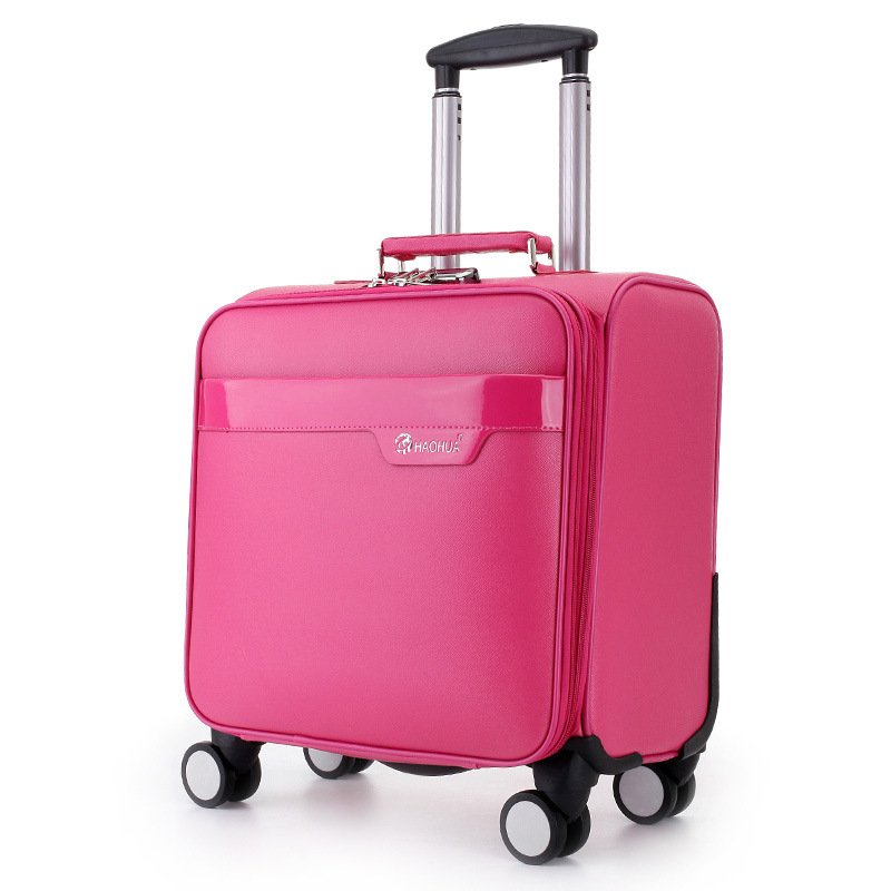 2016 New Fashion PU Leather Rolling Luggage Spinner Wheels 16 Inch Boarding Box Travel Bag Suitcase Card Student women Men Trunk vintage suitcase 20 26 pu leather travel suitcase scratch resistant rolling luggage bags suitcase with tsa lock