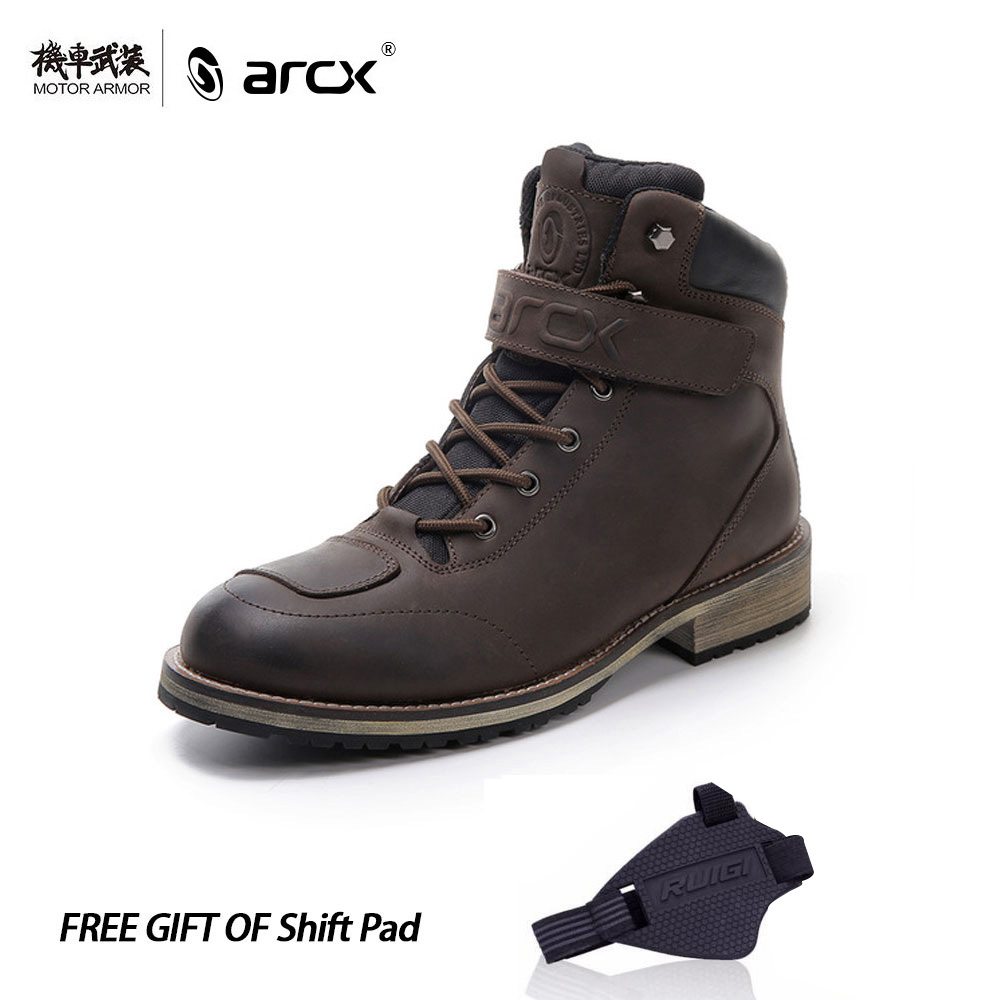 Brand ARCX Motorcycle Genuine Leather Waterproof Boots Street Men Bota Moto Racing Motocross Touring Riding Quality Shoes Brown arcx motorcycle boots off road racing shoes men leather moto boots motocross boots street moto touring riding motorcycle shoes