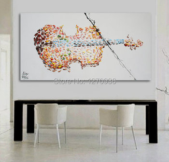 High Skill Hand Painted Guitar Oil Painting on Canvas for Home Decor Landscape Picture Sideways Release Violin Acrylic Painting