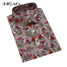 Uwback Women Floral Shirt Cotton 2017 New Summer Women Casual Boho Shirts Female Fit Slim Blouses Plus Size 5XL, EB144