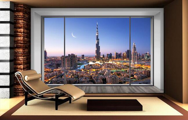 Eco friendly 3d huge mural dubai night view out of the for 3d wallpaper for living room in dubai