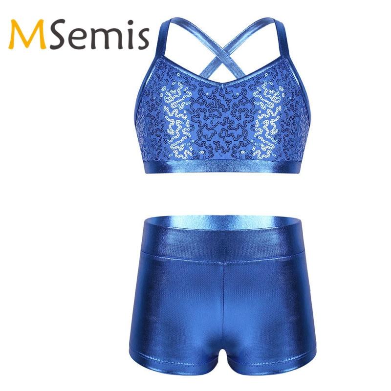 MSemis Big Girls Shiny Dance Racer Back Crop Top Sports Bra for Gymnastics//Dance//Workout Cami Top