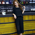 Women Short Sleeve Pullovers Shirts Summer Wide Leg Pants Elastic Waist Two Pices Suits Casual Black Chiffon 2 pcs Pants Set