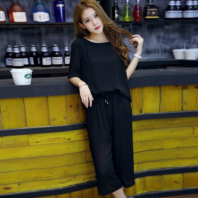 Women Short Sleeve Pullovers Shirts Summer Wide Leg Pants Elastic Waist Two Pices Suits Casual Black Chiffon 2 pcs Pants Set