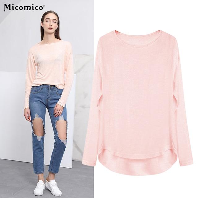 Micomico Women T-shirt 2017 Spring Long Sleeve O-Neck T-shirt Tie-Dye Casual Tee Top IrregularBasic T-shirt Loose Female Top