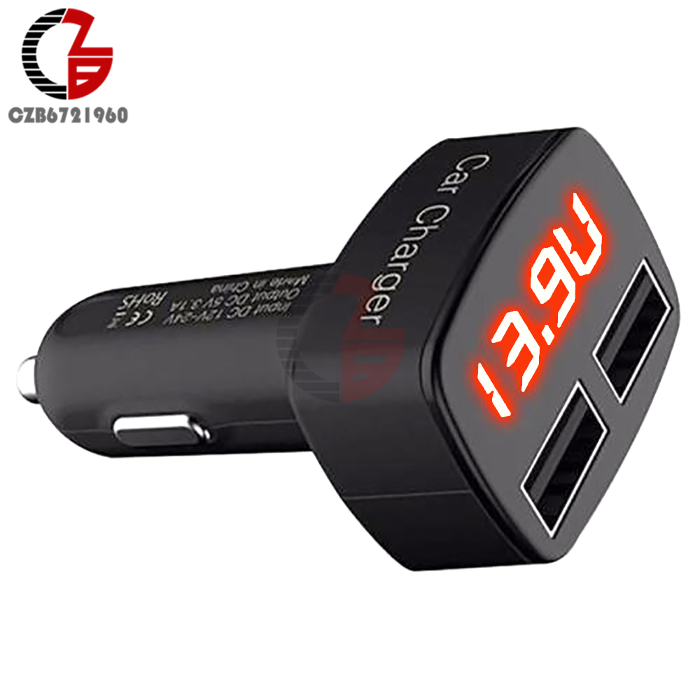 DC 5V 3.1A 4 in 1 LED Digital Voltmeter Ammeter Thermometer Dual USB Universal Car Charger Voltage Current Temperature Meter 3 in 1 multifunctional car digital voltmeter usb car charger led battery dc voltmeter thermometer temperature meter sensor