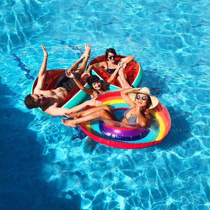 60-120cm Water Sports Adult Giant Swimming Ring Inflatable Flamingo Pool  Float Tube Swimming Pool Toys Swimming Float