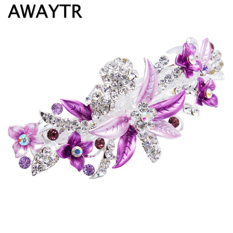 AWAYTR Women Hair Accessories 3D Flower Hair Clip Elegant Crystal Acrylic Hair Barrette Perfect Gift for Girls Wedding Hairpins|hair barrette|flower hair clipwomen hair accessories - AliExpress