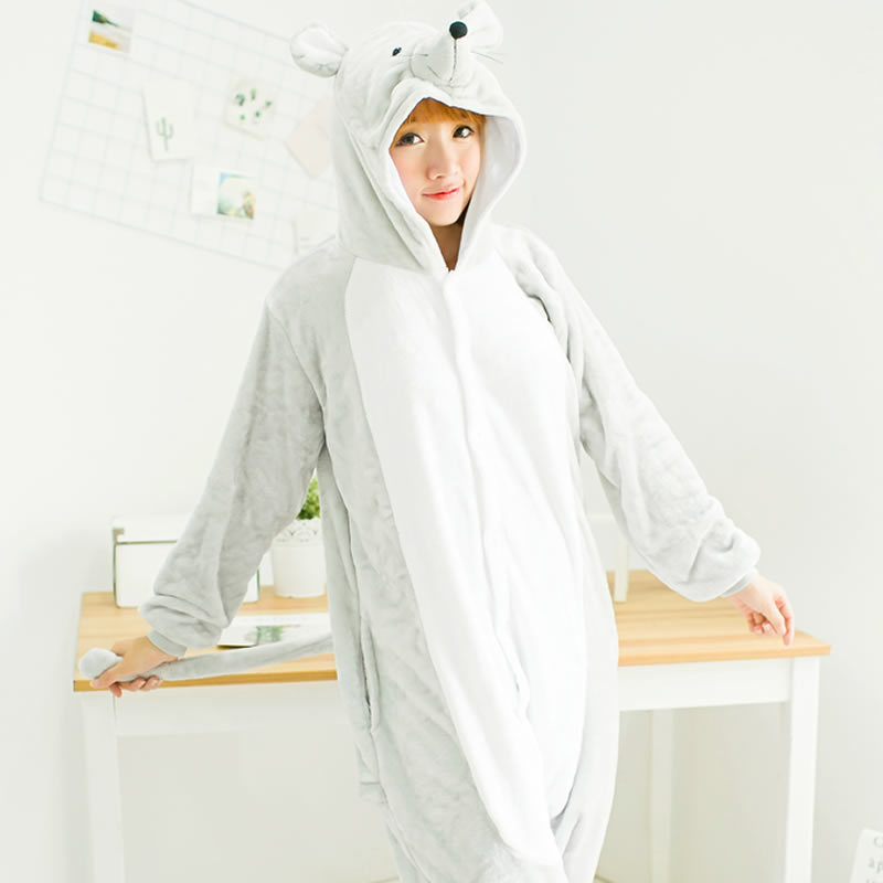 Men s and Women s Winter Flannel Mouse One piece Pajamas Cute Animal Gray Couple Cosplay