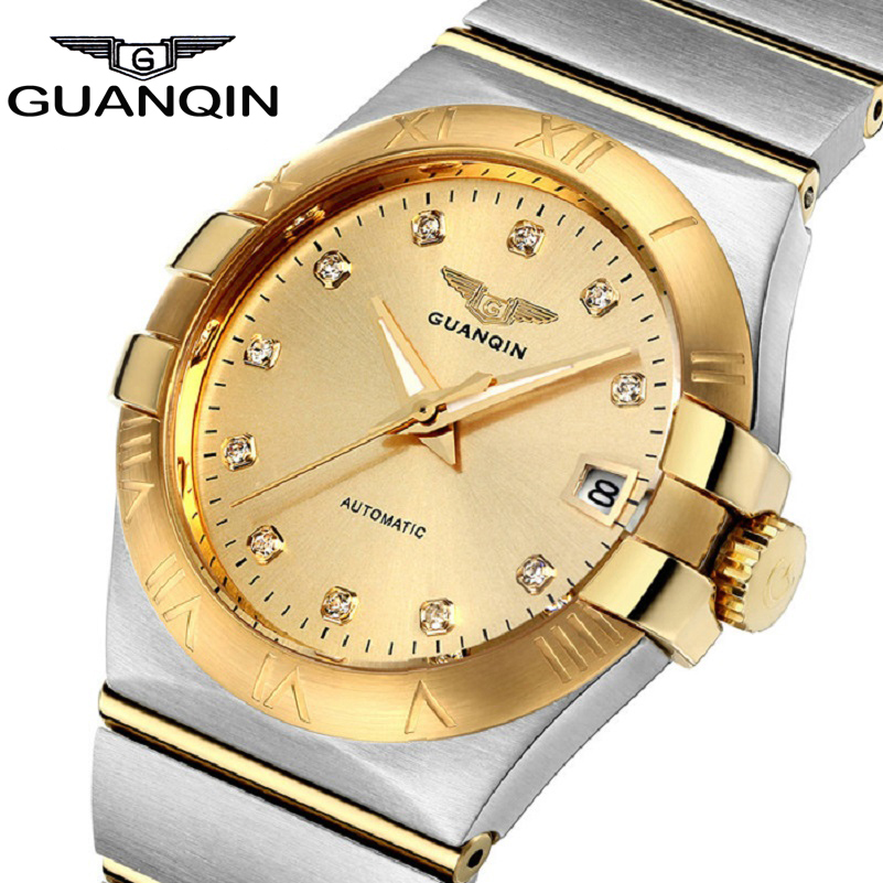 Limited Edition GUANQIN Automatic font b Men b font font b Watch b font Crystal Gold