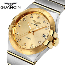 Limited Edition GUANQIN Automatic Men Watch Crystal Gold 18K Shell Upscale Business Male Wristwatches Relogio Masculino