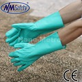 NMSAFETY зеленый нитрила промышленные перчатки, 13 дюймов flocklined, diamond grip on plam перчатки