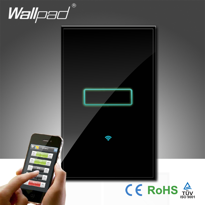 Wallpad Black Luxury Glass 110~250V AU US 120 1 Gang Wireless Wifi Remote Light Controlled WIFI Touch Wall Switch, Free Shipping eu 1 gang wallpad wireless remote control wall touch light switch crystal glass white waterproof wifi light switch free shipping