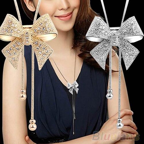 Latest Design New Elegant Sweet Crystal Rhinestone Bow Bowtie Pendant Necklace Sweater Chain 7E1U