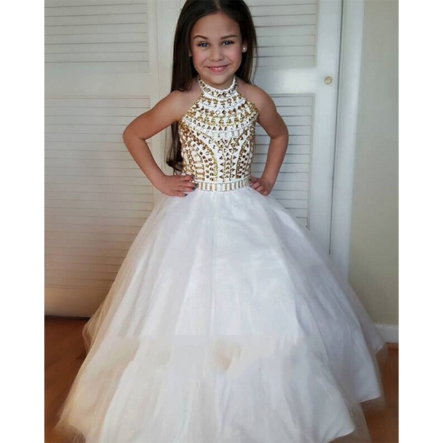 17d0295441a White Halter Flower Girl Dresses 2016 Beautiful Gold Beaded Kids Pageant  Dress Little Girls Wedding Party Ball Gowns