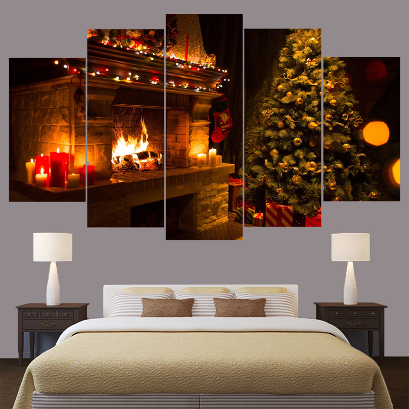 Дома рождественской елки пейзаж, холст для живописи стены Книги по искусству домашнего декора для Гостиная Картины HD отпечатки оформлена и...