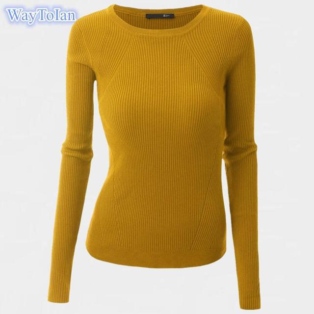 Women Sweater Pullover Basic Knitted Tops Solid Crew Neck Essential Jumper  Long Sleeve Ribbed Sweaters Autumn Winter 927de0c66