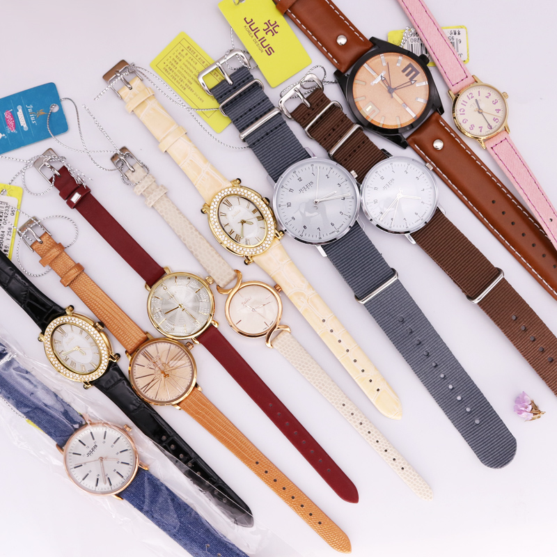 SALE! Short in Color Clearance Lack of Color No Julius Royal Crown Womens Watch Japan Quartz Hours Leather Stainless Steel