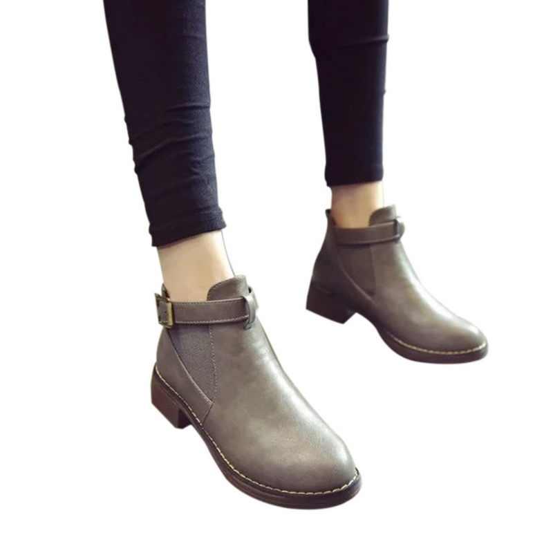 SHUJIN Frauen Stiefeletten 2019 Frühling Weibliche Casual Schuhe Frau Flache Mode Plattform Runde Kappe Schnalle Strap Solide