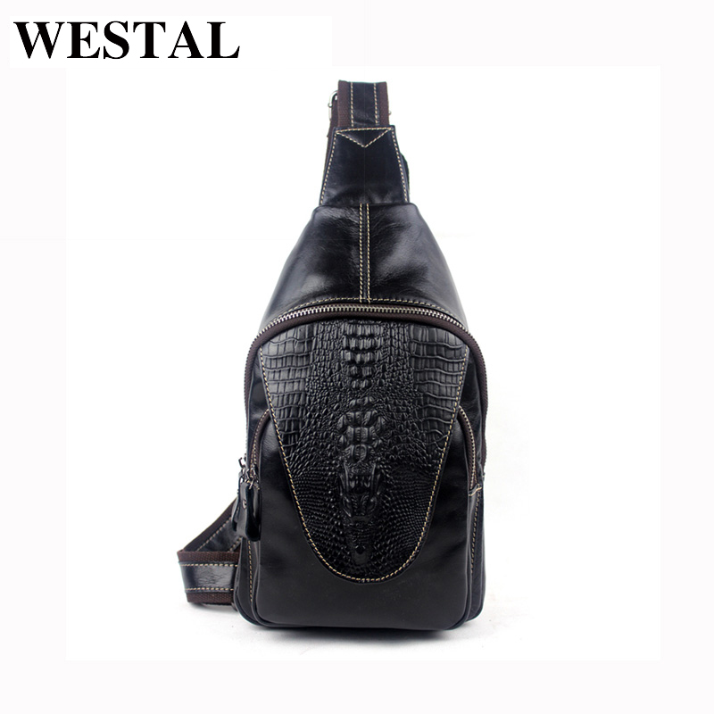 WESTAL 100% Genuine Leather Men Bags Hot Sale Alligator Pattern Man Pack Vintage Men Messenger Bags Crossbody Shoulder Bag 8082 книга мастеров