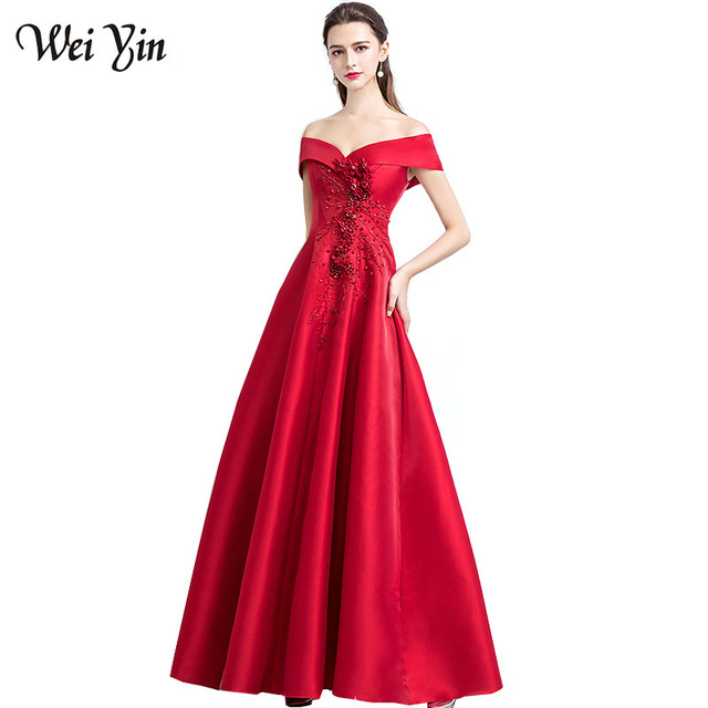 WeiYin New Elegant Red Long Evening Dresses Superb Satin Boat Backless  Beaded Embroidered Prom Dresses Formal vestidos de fiesta 4fdc68927bd7