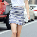 2016 New Cotton Pencil Mini Skirts Geometric Printed Western Fashion Design Vogue Girl Slim Bottoms Slim Straight Saia Faldas