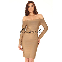 Free Shipping Long Sleeve Bodycon Dress Rayon 2016 Winter New Fashion Khaki Sexy Off Shoulder Bandage Dress Wholesale HL