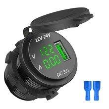 12-24 В Быстрая зарядка 3,0 USB зарядное устройство 5 в 3 а светодиодный вольтметр для автомобиля QC 3,0 Быстрая зарядка зарядное устройство для автомобиля лодки мотоцикла