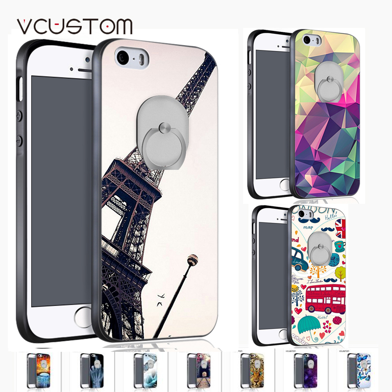 vcustom luxury ring <font><b>holder</b></font> <font><b>black</b></font> hard Peach blossom,Eiffel Tower,tigger case cover for apple iphone 5C <font><b>black</b></font> <font><b>phone</b></font> cas