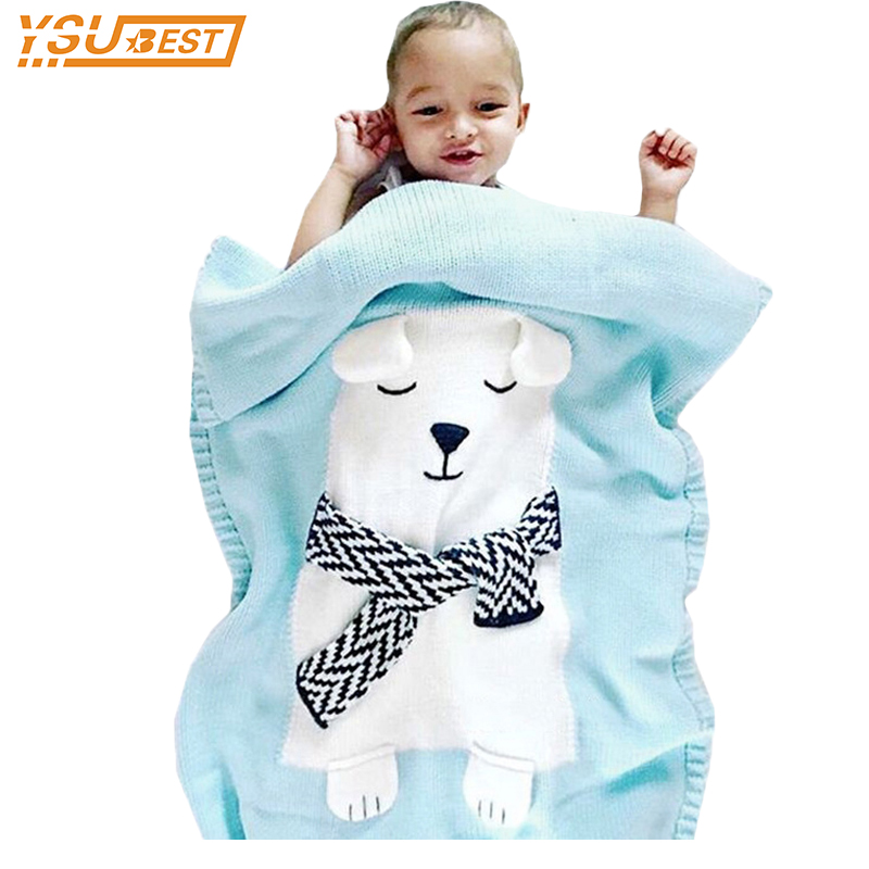 Baby Carriage Mantas New 2017 Autumn Lovely Cotton Baby Blanket Childrens Bedding Fleece Blanket Cartoon Bear Knitting Swaddle