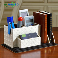 Multifunction Creative Wooden Leather Remote Control Pen Holder Cute Pencil Case Desktop Cosmetic Stationery Organizer Desk
