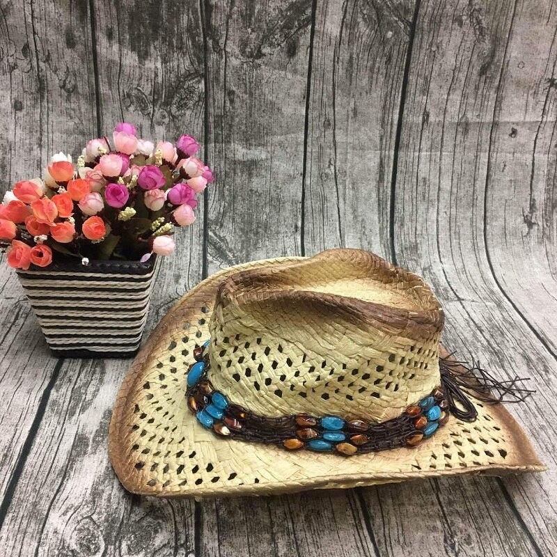 Handmade Raffia Hollow Cowboy Hat With Punk Rope  2
