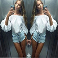 Sexy Women Casual Tops Slash Neck Off Shoulder Bubble Sleeve Blouse Hot Sale Summer Tops