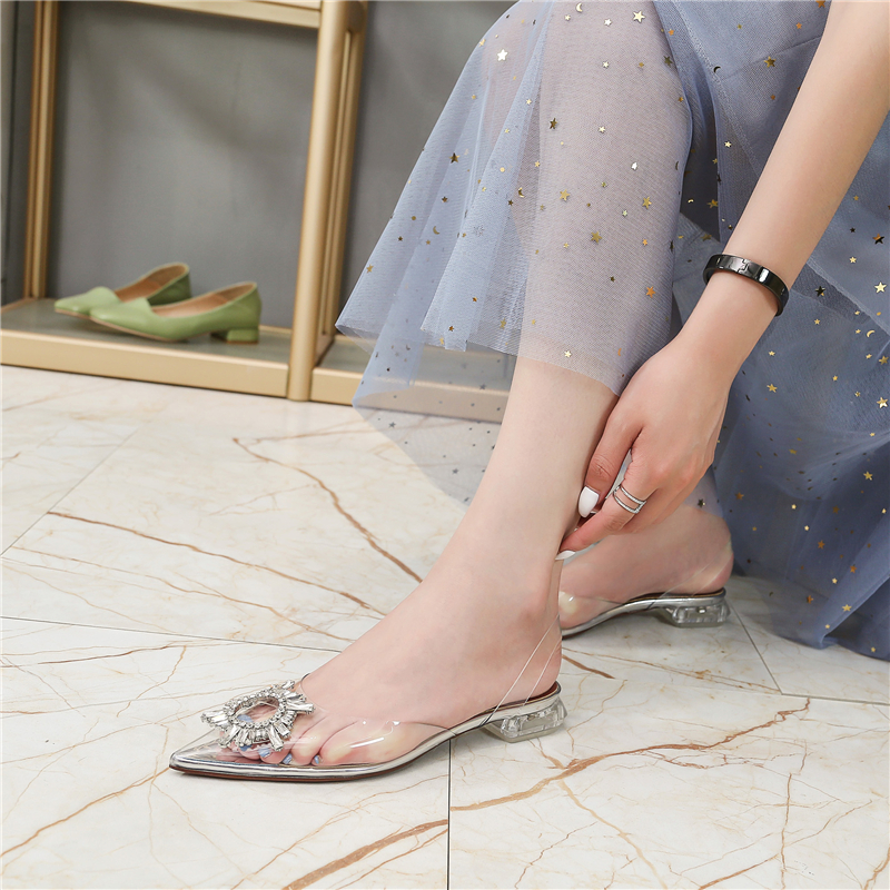 HTB1kuD5bEGF3KVjSZFvq6z nXXaE Women's high heel sandals 2019 summer new pointed low heel rhinestone decorative sandals 42 large size jelly shoes