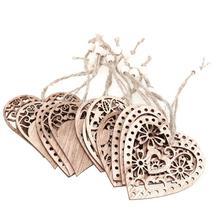12 шт., деревянный орнамент в форме сердца, сделай сам, свадебные украшения, вечерние принадлежности, деревянные подвесные украшения в форме сердца, домашний декор