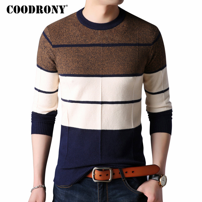 COODRONY Sweaters Thick Warm Pullover Men Casual Striped O-Neck Sweater Men Clothing 2018 Autumn Winter Knitwear Pull Homme 8161