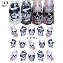 Full Beauty 1 Sheet Halloween Nail Art Sticker Sexy Skull Bone Water Transfer Decals Nails Foil Manicure Decoration CHSTZ731 755