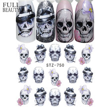 Full Beauty 1 Sheet Halloween Nail Art Sticker Sexy Skull Bone Water Transfer Decals Nails Foil Manicure Decoration CHSTZ731-755(China)
