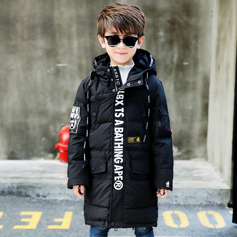 2018 New Children Jacket Winter Casual Hooded Down Coat Baby Boys Thick Warm Long Thick Clothes Overcoat 7-16 Years Old Child 2017 new baby boys and girls winter warm long coat kid hooded jacket kid fashion cute cartoon thick down solid color winter coat