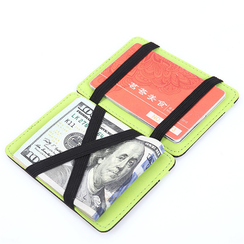 PU Leather Slim Magic Wallet Credit & ID Card Holder Men's Mini Multifunctional Bifold Short Purse Money Belt Cash Case