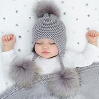 JKP New Cute Baby Girls Boys knitting Cotton Winter Hats Real Raccoon Fur Pompom Kids Beanies Winter Knitted Baby Caps